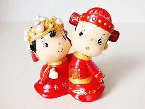 Chinese Bride & Groom Figurine Wedding Cake Topper
