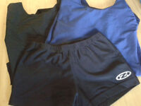 2 x Girls 34 leotards and 1 pair gym shorts size 34 inch