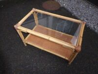 Glass and Bamboo coffee table with shelf in good condition