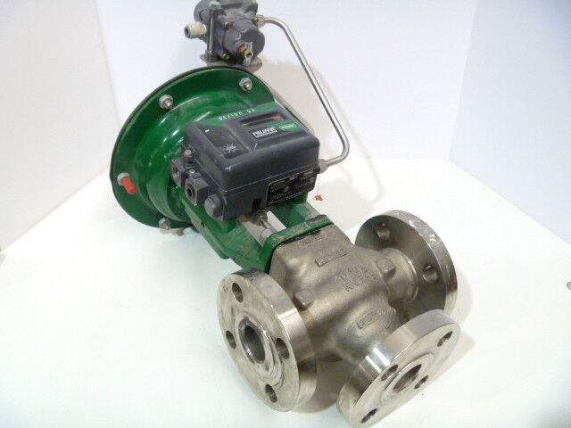 """1-1/2"""" Fisher GX 300# CF3M Stainless 3-Way Control Valve DVC2000 Positioner"""
