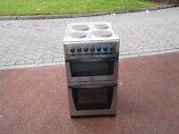 INDESIT STAINLESS STEEL FREESTANDING 50 CM ELECTRIC DOUBLE OVER WITH 4 HOBS IN VERY GOOD CONDITION