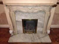 Composite surround & mantelpiece with marble backboard and heath