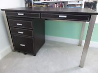 Brown Leather Desk and Filing Cabinet from John Lewis. Very good condition.