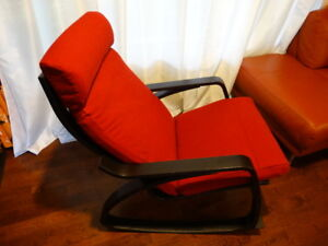 poang rocking chair or rocker with stool