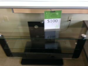 GLASS TV STAND $100.00 + TAX