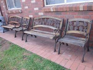 2 Cast Iron Bench Seats + 2 Matching Single Seats - Very Heavy Glenmore Park Penrith Area Preview