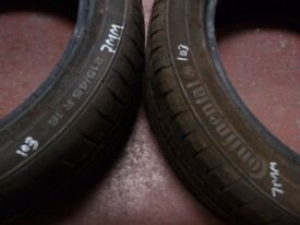 2 CONTINENTAL 7 MM TYRES 215/45 R 16