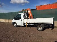 Ford Transit Flatbed with Hiab Crane for Hire