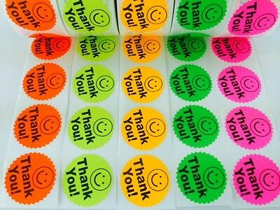 1000 Big Thank You Label Smiley 2 Sticker Starburst Colors Neon Fluorescent New