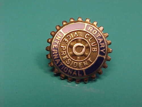 Vintage Solid 10k Gold Rotary International Club VP Lapel Pin Vice President SB