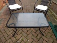PAIR MATCHING GARDEN / PATIO CHAIRS & TABLE