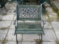 set of 4 wood / cast iron chairs and table