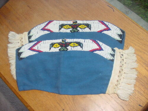 OLD BEADED YAKAMA INDIAN BEADED CUFFS CEREMONY DANCE