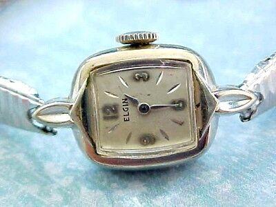 LADIES Vintage ELGIN Watch 19 JEWEL 10K WHITE GOLD PLATED / NOT WORKING