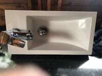 Small White Vanity Unit with Sink and Tap