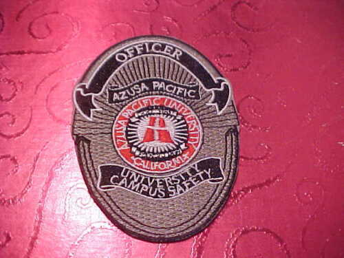 CALIFORNIA AZUSA PACIFIC UNIVERSITY POLICE PATCH CHEST SIZE UNUSED 3 1/2 X 2 1/2