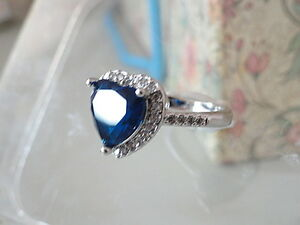 Titanic Heart of the Ocean Ring Blue Sapphire Swarovski Crystal Size 7 Gift