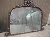 Overmantel mirror.