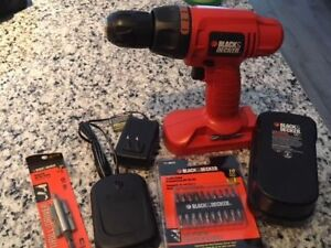 Black and Decker Cordless 18V Drill with charger and drill bits