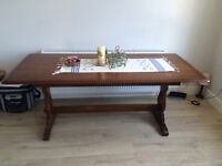 Large, solid, Dark Wood 1930's Style Dinning table