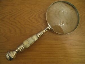 ANTIQUE VINTAGE STYLE LARGE CHROME MAGNIFYING GLASS WITH MOTHER OF PEARL HANDLE