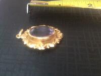 9ct Gold Vintage Amethyst Oval Pendant