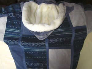Blue and Gray Suede and Fabric Coat