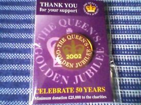 """THE QUEEN'S GOLDEN JUBILEE 2002"" LAPEL BADGE - NEW/UNUSED"