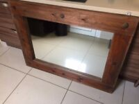 Large solid dark wood mirror in excellent condition - £50