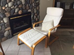 2 Ikea  Poang chairs with matching footstools