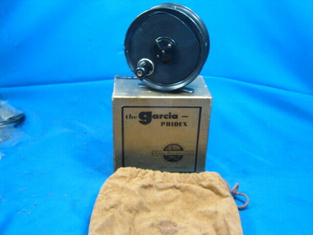 Vintage J.W. Young & sons Garcia Pridex Fly Reel Made in England w/Box & Bag