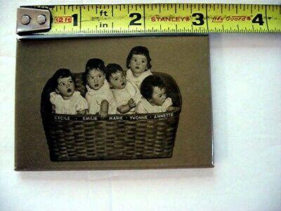 VINTAGE POCKET MIRROR c1936 DIONNE QUINTS BABIES IN CLOTHES BASKET