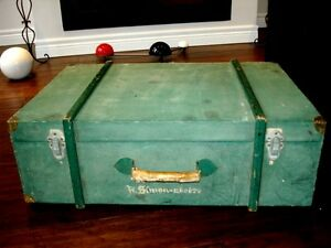 Simon WOOD SUITCASE military VINTAGE great piece LEATHER HANDLE Cambridge Kitchener Area image 4