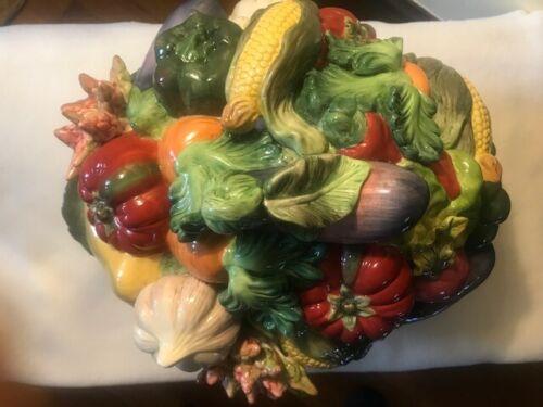 Vintage Kaldun and Bogle Large Vegetable Themed Majolica Soup Tureen Rare