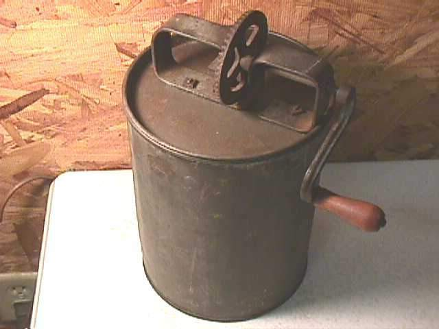 Early Tin Cylinder Butter Churn