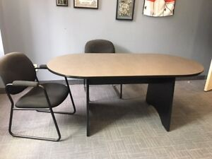 Conference/boardroom table with 6 fabric chairs