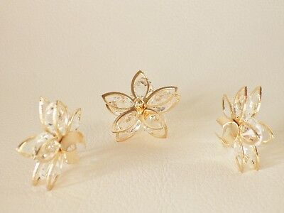3 x PALE ROSE GOLD Plated Wire Pendants / CAGES:  BNRGWPend01 - 5 Point Flower