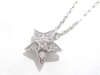 Authentic CHANEL 18K White Gold Diamond Comete Necklace U22277 w/ Case