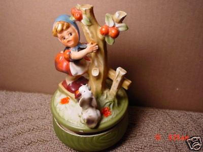 Vintage,Music Box,Porcelain,Rotates,Girl,Dog,Tree,Japan