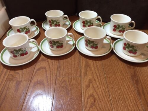 Set of 8 McCoy coffee cups saucers strawberries green trim