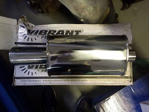 "Vibrant Street Power Stainless Steel polished muffler 4"" tip"
