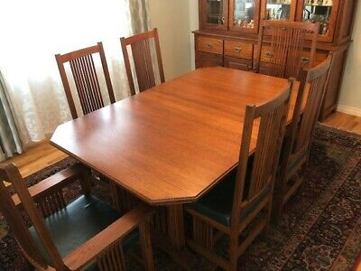 Woodley Solid Oak Dining room set with 4 side chairs 2 arm chairs and Hutch