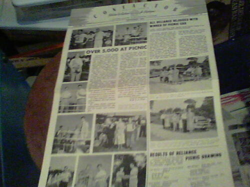 Sept 1951 Contactor Reliance Electric newsletter Ashtabula Picnic Pics, Recipes
