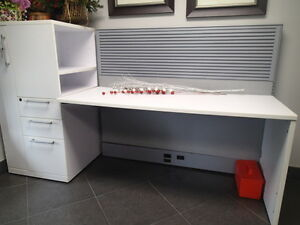 2 Office Desks with side cabinet and table