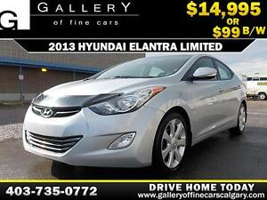 2013 Hyundai Elantra Limited $99 bi-weekly APPLY NOW DRIVE NOW
