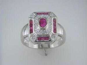 Lady's Diamond Ruby Ring in 14K White Gold
