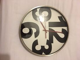 Large letter silver and black clock