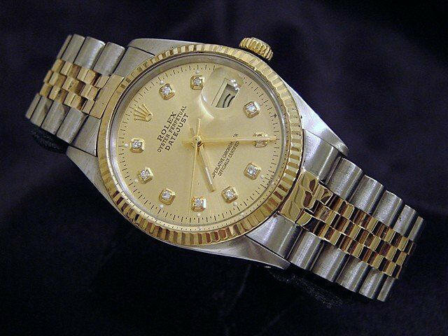 Rolex Datejust Mens 2tone 18k Gold & Stainless Steel Champagne Diamond 16013
