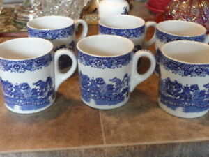 """8 Fine """"Woods And Sons"""" Large Blue Willow Tea/Coffee Mugs"""