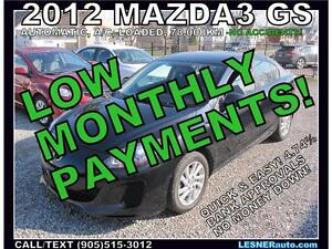 $3000 DOWN, $160 for 60 months! SALE$9980  -2012 Mazda3 GX-